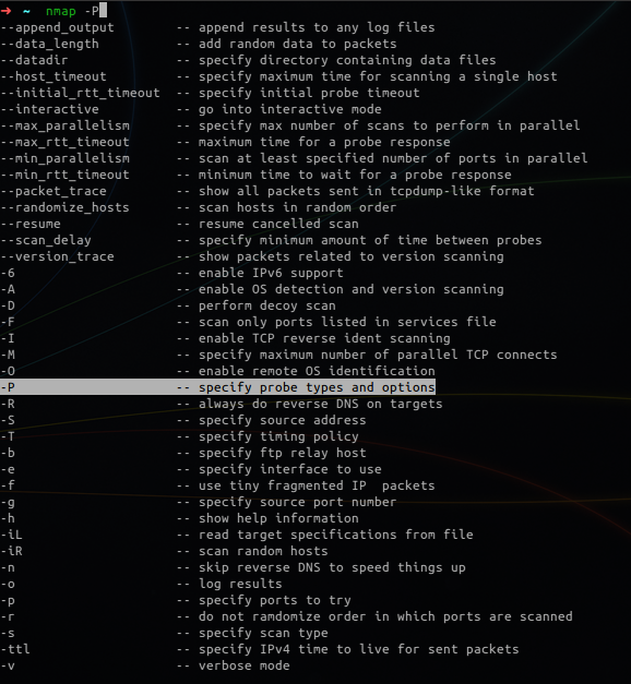 zsh showing nmap suggestions