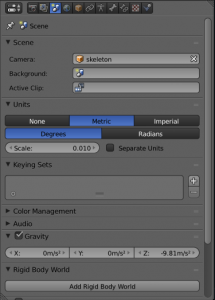 Screenshot showing Blender being configured for metric system