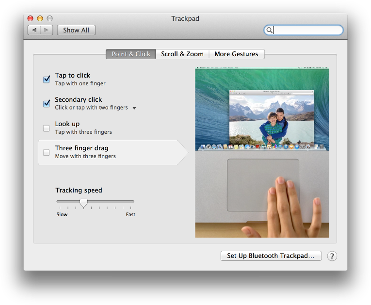 Screenshot showing preferences->trackpad on OS X